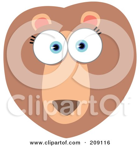 Royalty-Free (RF) Clipart Illustration of a Big Eyed Lion Face by Qiun