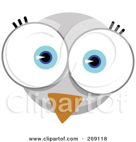 Royalty-Free (RF) Clipart Illustration of a Big Eyed Bird Face by Qiun