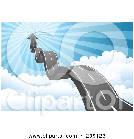 Royalty-Free (RF) Clipart Illustration of a Bumpy Roadway And Arrow Leading Above The Clouds To Heaven by Qiun