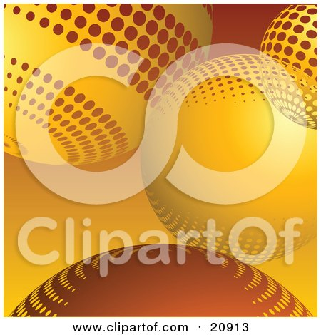Clipart Illustration of an Abstract Site Background Of Orange-Yellow Circles Or Christmas Baubles by elaineitalia