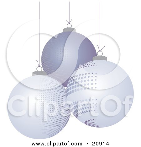 Clipart Illustration of Three Different Suspended Off White And Purple Christmas Bauble Ornaments Over A White Background by elaineitalia