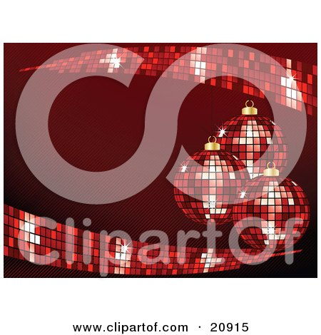 Clipart Illustration of Three Red Disco Mirror Ball Christmas Ornaments Hanging Over A Red Background by elaineitalia