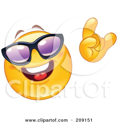 Royalty-Free (RF) Clipart Illustration of a Yellow Smiley Face Wearing Shades And Gesturing The Hang Loos Sign by yayayoyo