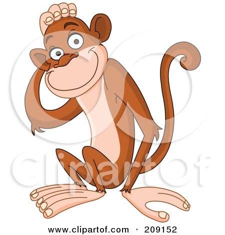 Cute Monkey Touching His Head Posters, Art Prints