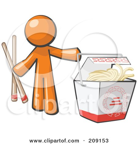Royalty-Free (RF) Clipart Illustration of an Orange Man Design Mascot Holding Chopsticks By A Chinese Takeout Container by Leo Blanchette