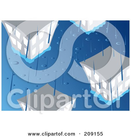 Royalty-Free (RF) Clipart Illustration of Rain Pouring Down And Flooding A City by mayawizard101