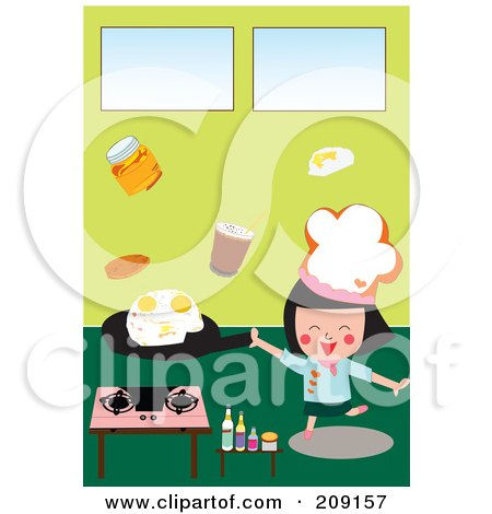 Royalty-Free (RF) Clipart Illustration of a Little Chef Girl Frying Eggs In A Kitchen by mayawizard101
