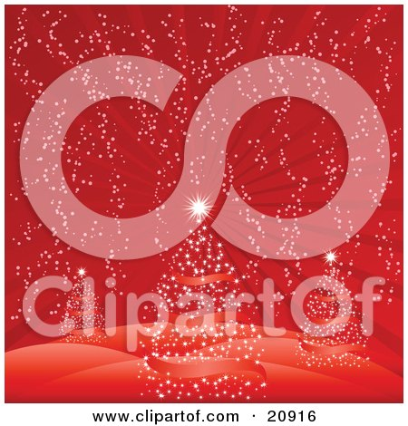 Clipart Illustration of Three Red Christmas Trees With Bright Stars, Spanned Out On A Hilly, Wintry Landscape On A Snowy Night by elaineitalia