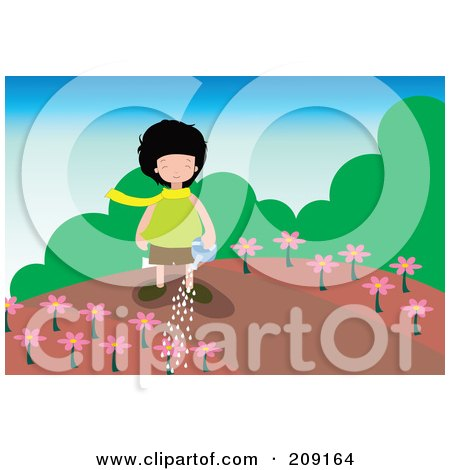 Royalty-Free (RF) Clipart Illustration of a Girl Watering Pink Flowers In A Garden by mayawizard101