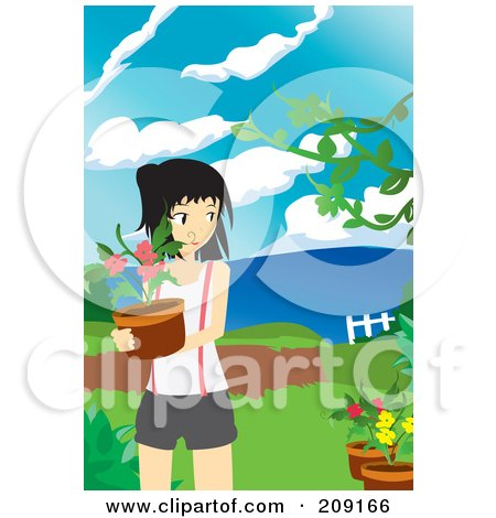 Royalty-Free (RF) Clipart Illustration of a Young Woman Carrying A Potted Plant In A Garden by mayawizard101