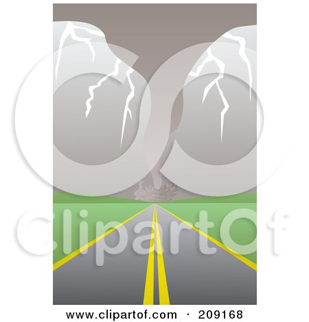 Royalty-Free (RF) Clipart Illustration of a Stormy Tornado Traveling Near A Road by mayawizard101