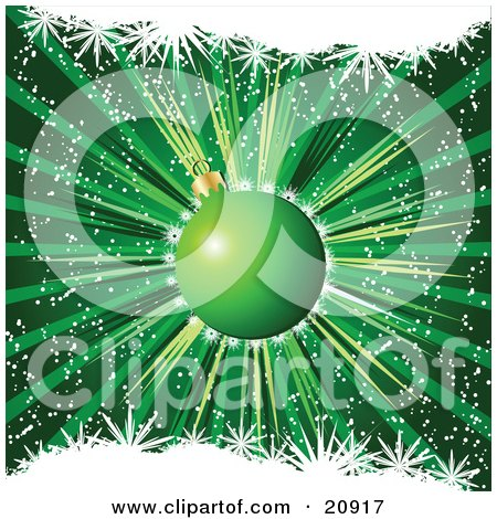 Clipart Illustration of a Sparkling Green Glass Christmas Ornament Bauble Over A Bursting Green Background by elaineitalia