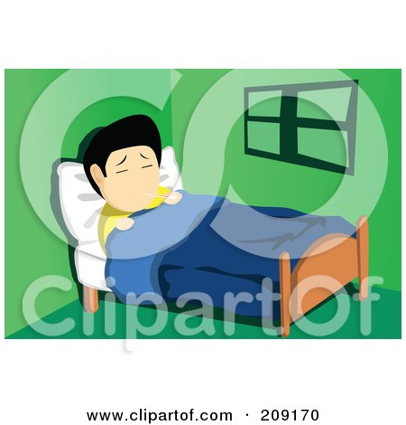 Royalty-Free (RF) Clipart Illustration of a Sick Asian Man Resting In Bed With A Thermometer In His Mouth by mayawizard101