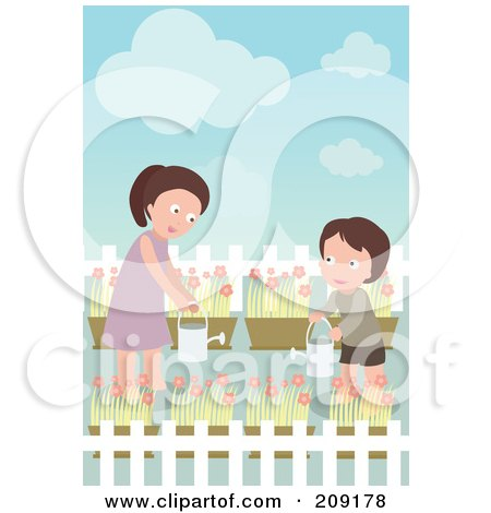 Royalty-Free (RF) Clipart Illustration of a Boy And Mom Watering Their Flower Garden by mayawizard101
