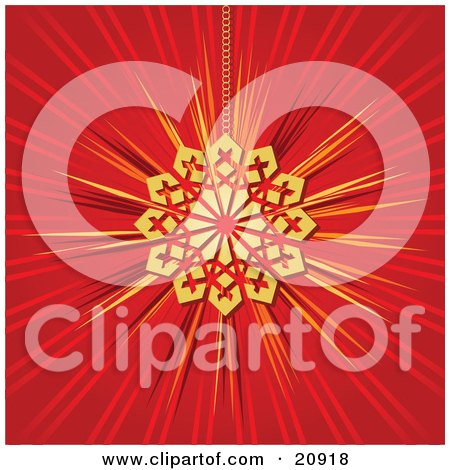 Clipart Illustration of a Shiny Golden Snowflake Christmas Tree Ornament Suspended By A Chain Over A Red Background by elaineitalia