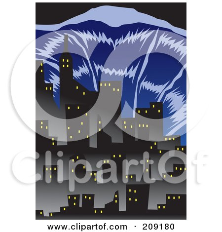 Royalty-Free (RF) Clipart Illustration of a Tsunami Wave Nearing City Buildings by mayawizard101