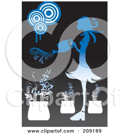 Royalty-Free (RF) Clipart Illustration of a Woman Watering Potted Plants by mayawizard101