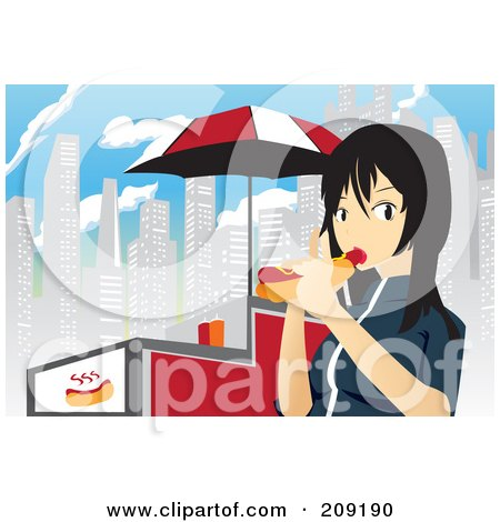 Royalty-Free (RF) Clipart Illustration of an Asian Girl Eating A Hot Dog By A Cart In The City by mayawizard101