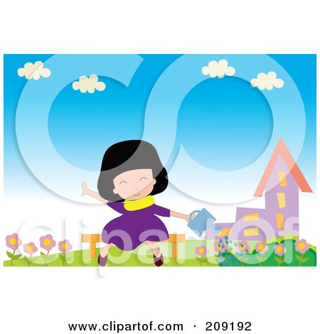 Royalty-Free (RF) Clipart Illustration of a Girl Sitting On A Bench And Watering Flowers by mayawizard101