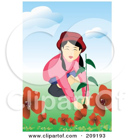 Royalty-Free (RF) Clipart Illustration of a Girl Planting Red Flowers In A Garden by mayawizard101