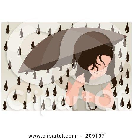 Royalty-Free (RF) Clipart Illustration of Dark Rain Drops Falling Around A Sad Girl Under An Umbrella by mayawizard101