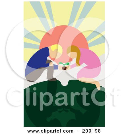 Royalty-Free (RF) Clipart Illustration of a Couple Kneeling And Crouching To Plant A Seedling Together by mayawizard101