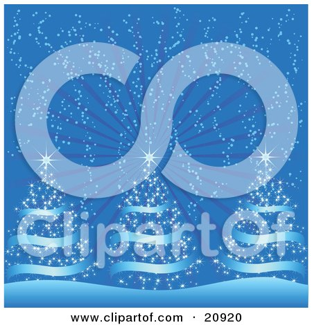 Clipart Illustration of Three Blue Christmas Trees With Shining Stars On Top, Being Snowed On On A Cold Wintry Night by elaineitalia