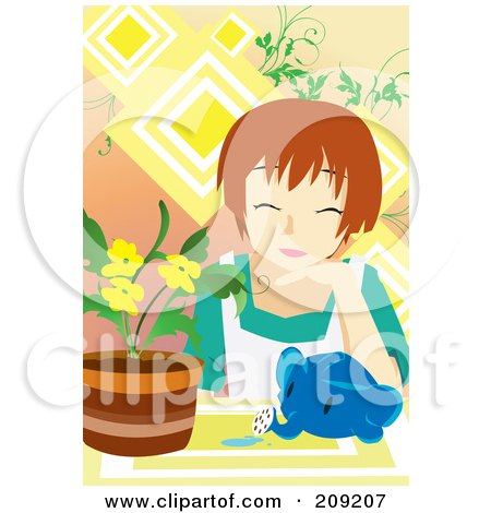 Royalty-Free (RF) Clipart Illustration of a Woman With An Elephant Watering Can By Potted Flowers by mayawizard101