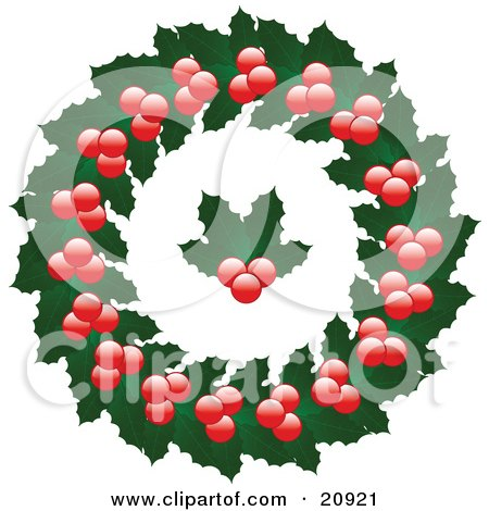 Clipart Illustration of a Christmas Wreath Made Of Holly Leaves And Berries With Holly In The Center, Over A White Background by elaineitalia