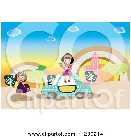 Royalty-Free (RF) Clipart Illustration of Two Tourist Girls By A Car, Taking Pictures With Cameras by mayawizard101