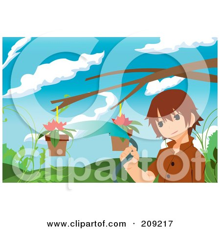 Royalty-Free (RF) Clipart Illustration of a Boy Watering Flowers In Hanging Planters by mayawizard101