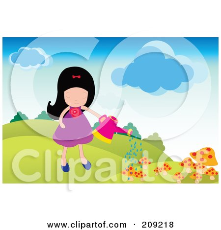 Royalty-Free (RF) Clipart Illustration of a Girl Watering Her Mushroom Garden by mayawizard101
