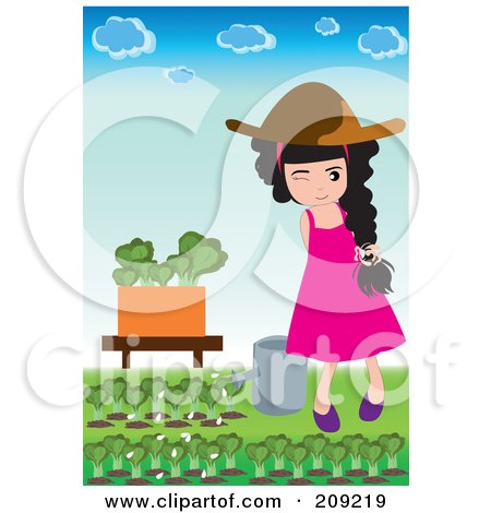 Royalty-Free (RF) Clipart Illustration of a Girl Watering Lettuce In Her Garden by mayawizard101