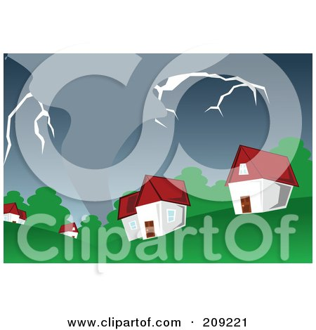 Royalty-Free (RF) Clipart Illustration of a Stormy Tornado Nearing Houses by mayawizard101
