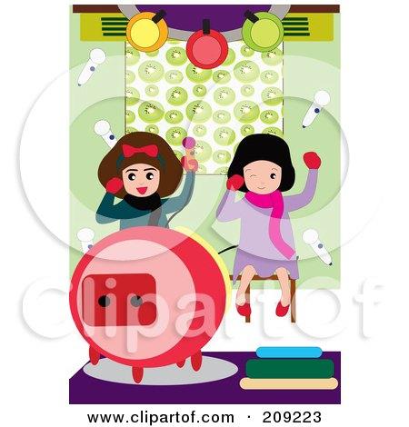 Royalty-Free (RF) Clipart Illustration of Two Little Girls Having Fun While Singing Karaoke by mayawizard101