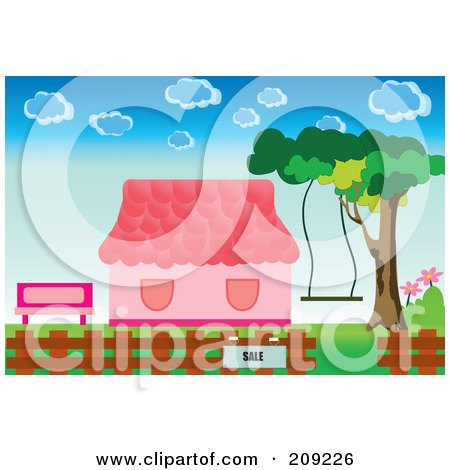 Royalty-Free (RF) Clipart Illustration of a For Sale Sign By A Pink House by mayawizard101