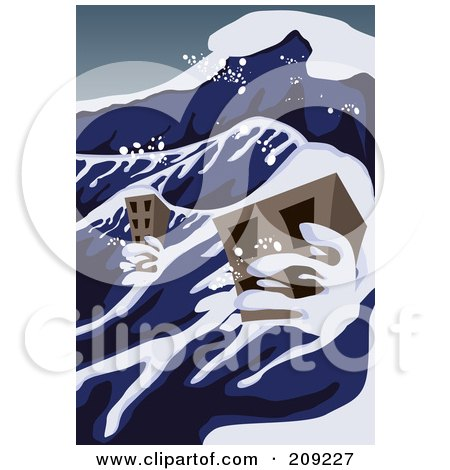 Royalty-Free (RF) Clipart Illustration of a Tsunami Wave ...