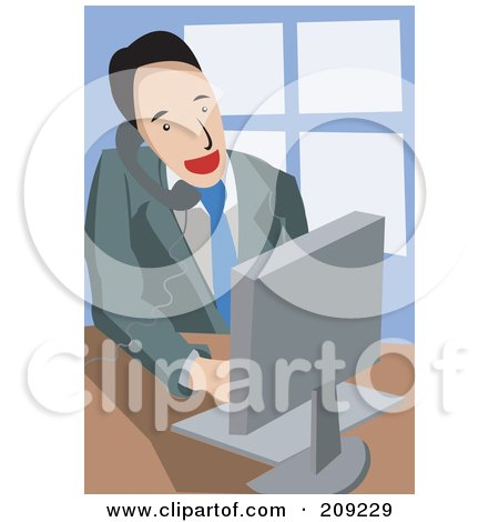 Royalty-Free (RF) Clipart Illustration of a Businsesman Holding A Phone Between His Shoulder And Ear While Typing On An Office Computer by mayawizard101