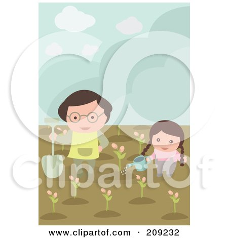 Royalty-Free (RF) Clipart Illustration of a Girl And Dad Planting And Watering Flowers In A Garden by mayawizard101