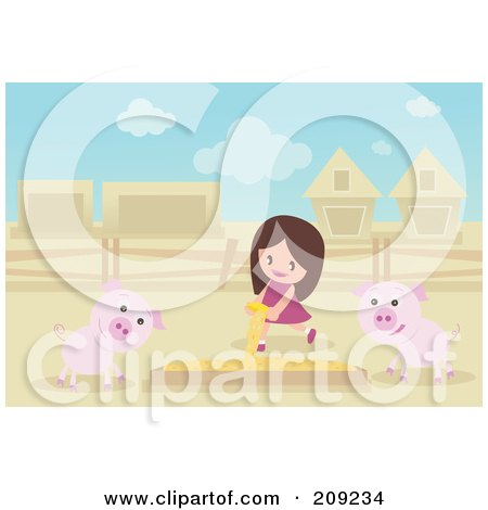 Royalty-Free (RF) Clipart Illustration of a Girl Pouring Food In A Box For Pigs by mayawizard101