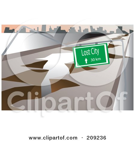 Royalty-Free (RF) Clipart Illustration of an Earthquake Fault Crack And Sign To The Lost City by mayawizard101