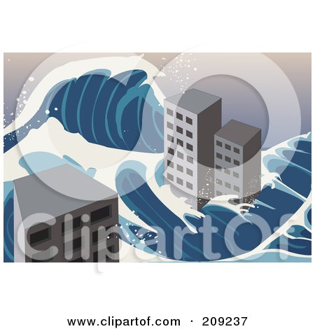 Royalty-Free (RF) Clipart Illustration of a Tsunami Wave Flowing Around City Buildings by mayawizard101