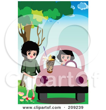 Two Women With A Pink Car, A Milkshake On The Hood Posters, Art Prints