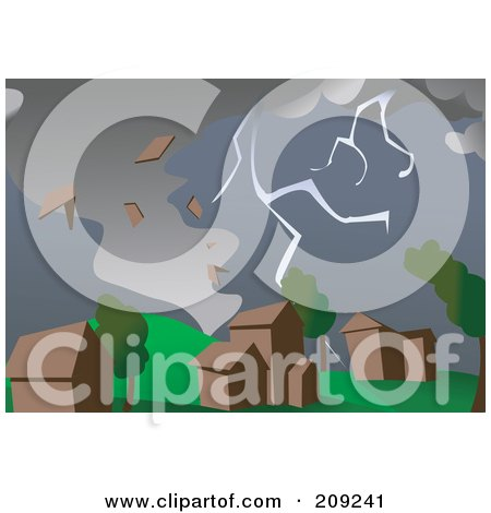 Royalty-Free (RF) Clipart Illustration of a Stormy Tornado Ripping Houses Apart by mayawizard101