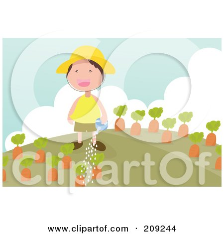 Royalty-Free (RF) Clipart Illustration of a Happy Boy Watering His Carrot Garden by mayawizard101