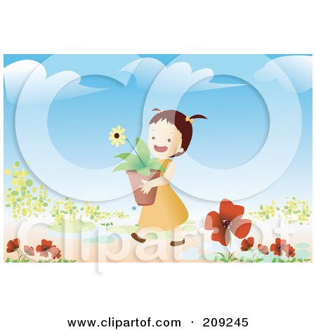 Royalty-Free (RF) Clipart Illustration of a Girl Carrying A Potted Flower In A Garden by mayawizard101