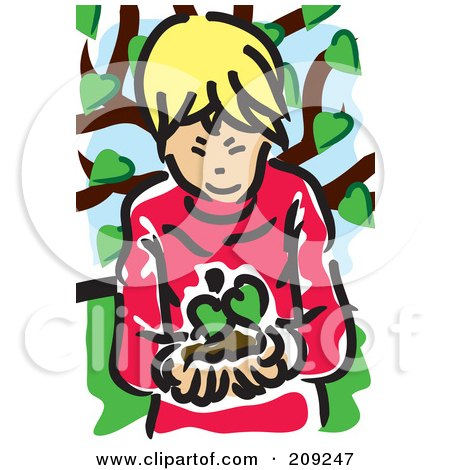 Royalty-Free (RF) Clipart Illustration of a Blond Boy Holding A Seedling Plant by mayawizard101