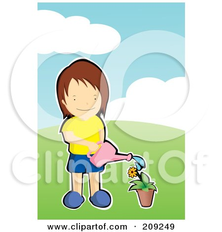 Royalty-Free (RF) Clipart Illustration of a Boy Watering A Flower In A Pot by mayawizard101
