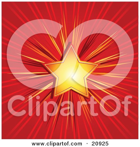 Clipart Illustration of a Bright Golden Christmas Star Over A Red Background by elaineitalia