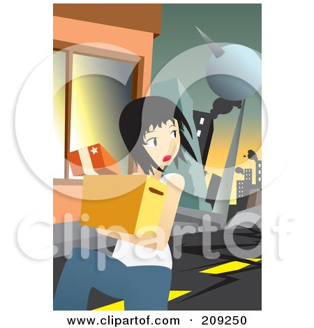 Royalty-Free (RF) Clipart Illustration of a Woman Running During An Earthquake by mayawizard101